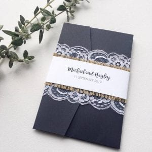 Pocket fold navy wedding invitation