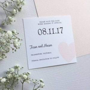 Blush heart Save the Date card