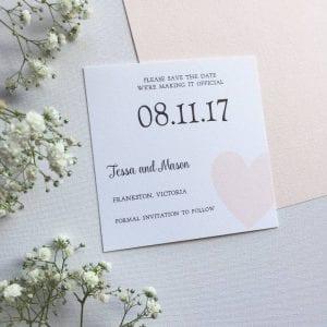 Blush heart Save the Date card