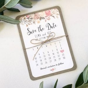 Rose Rustic Save the Date floral card