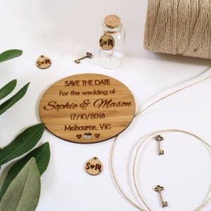 Bamboo rustic Save the Date disks