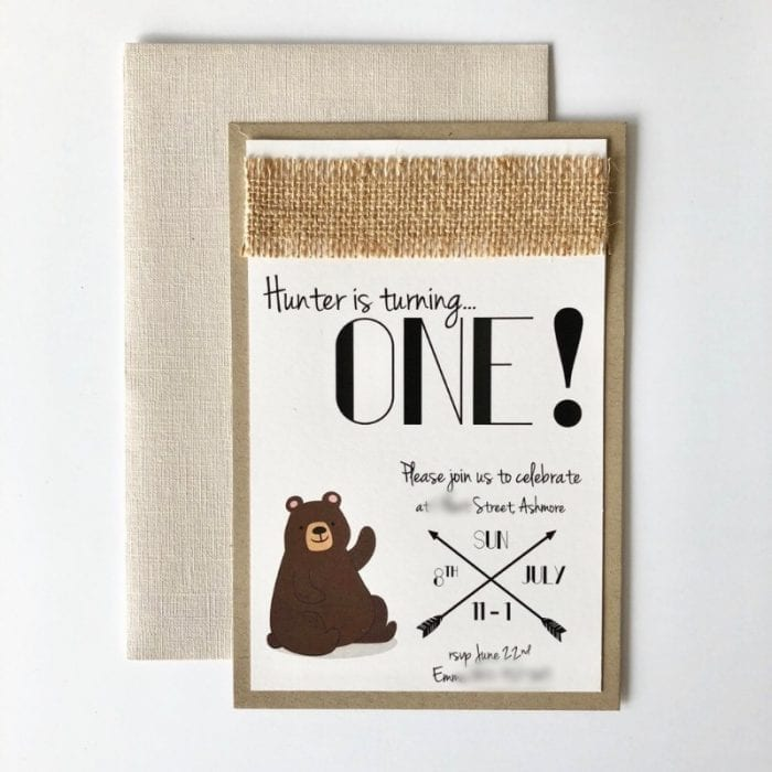 Woodland Birthday Invitation with Bear