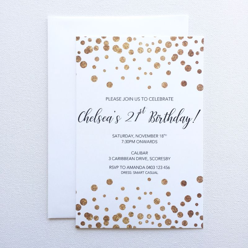 Confetti birthday invitation luxe invitations contact us quote request filmwisefo