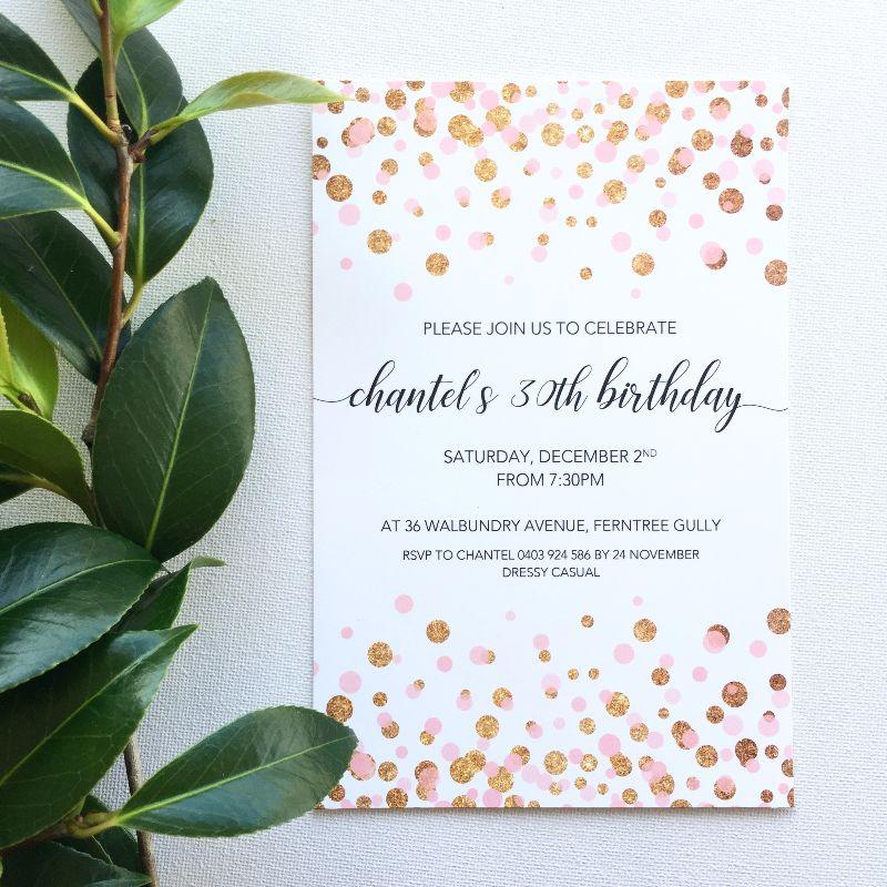 confetti birthday invitation luxe invitations