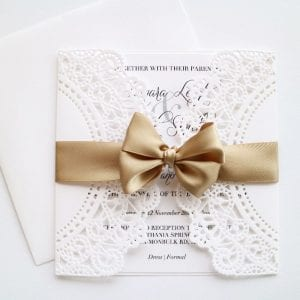 Laser cut christening invitation