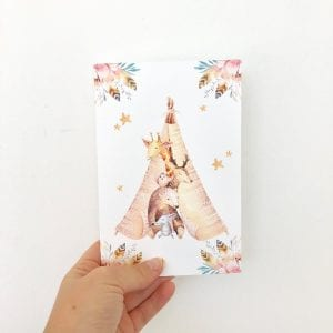 Boho baby birthday card