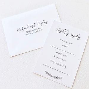Wedding RSVP card and invitations