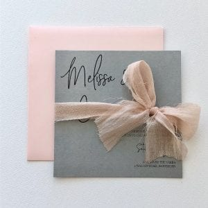 Grey and blush wedding invitation