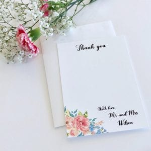 Spring floral wedding thank you card