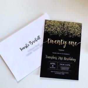 Black Confetti Birthday Invitation