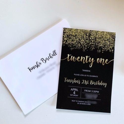 Gold confetti Birthday Invitation