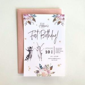 Boho Baby First Birthday Invitation