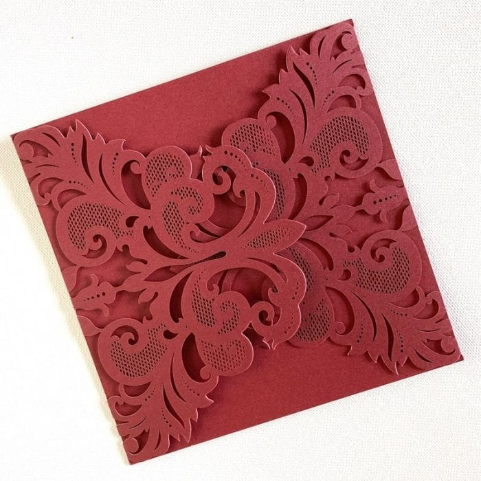 Wedding invitation burgundy