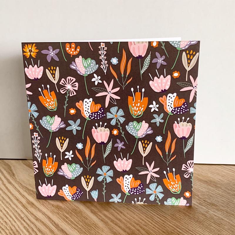 Brown floral card
