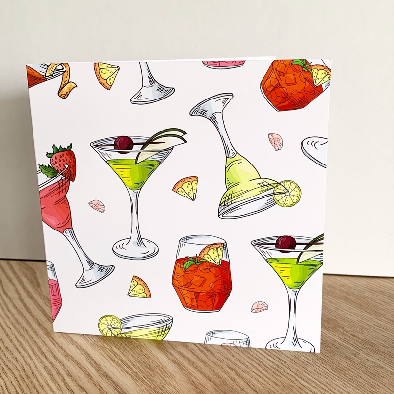 White cocktail card