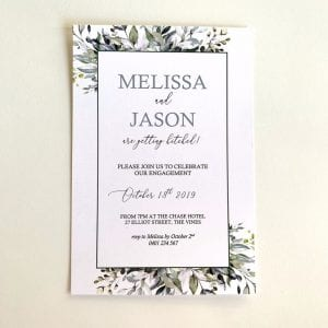 Watercolour Leaves Engagement Invitation