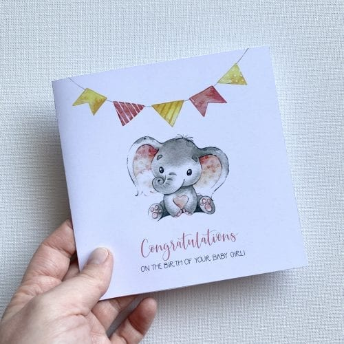 Congratulations girl baby card