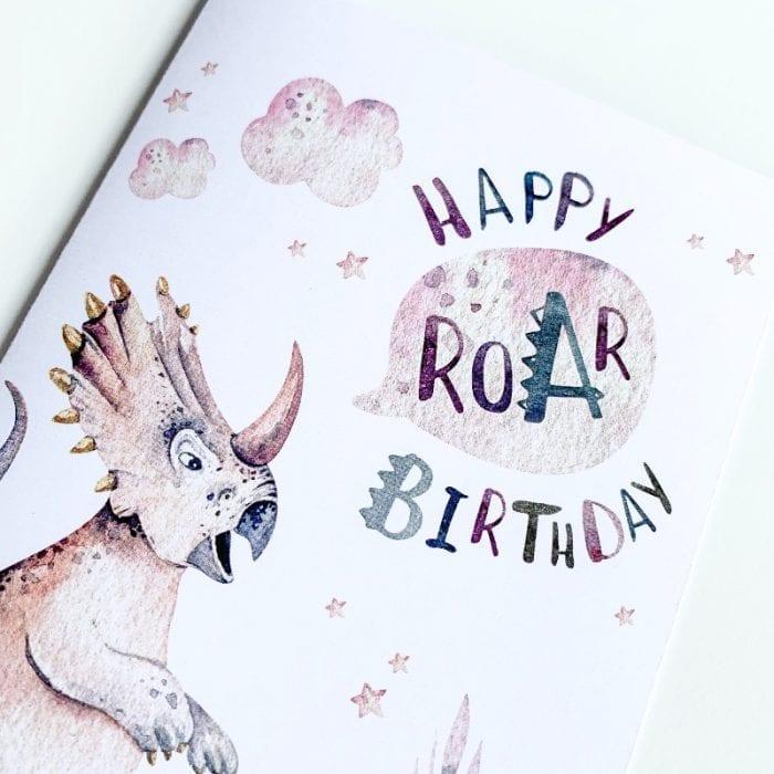 Triceratops Birthday Card