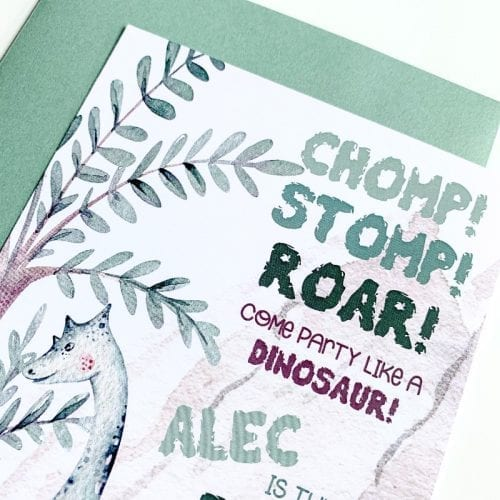 Brachiosaurus Dinosaur Birthday Invitation