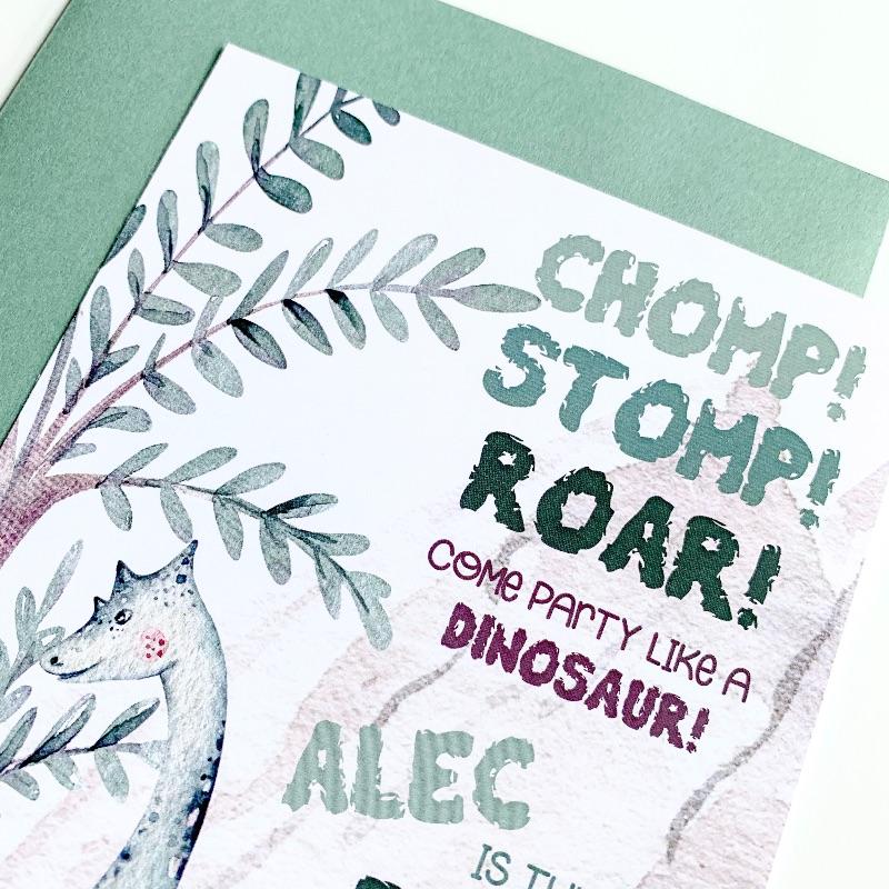 Brachiosaurus Dinosaur Birthday Invitation