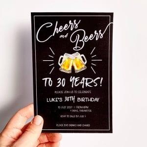 Cheers and Beers Milestone Birthday Invitation