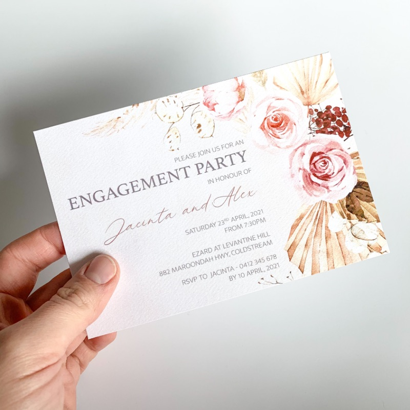 Boho floral engagement party invitation