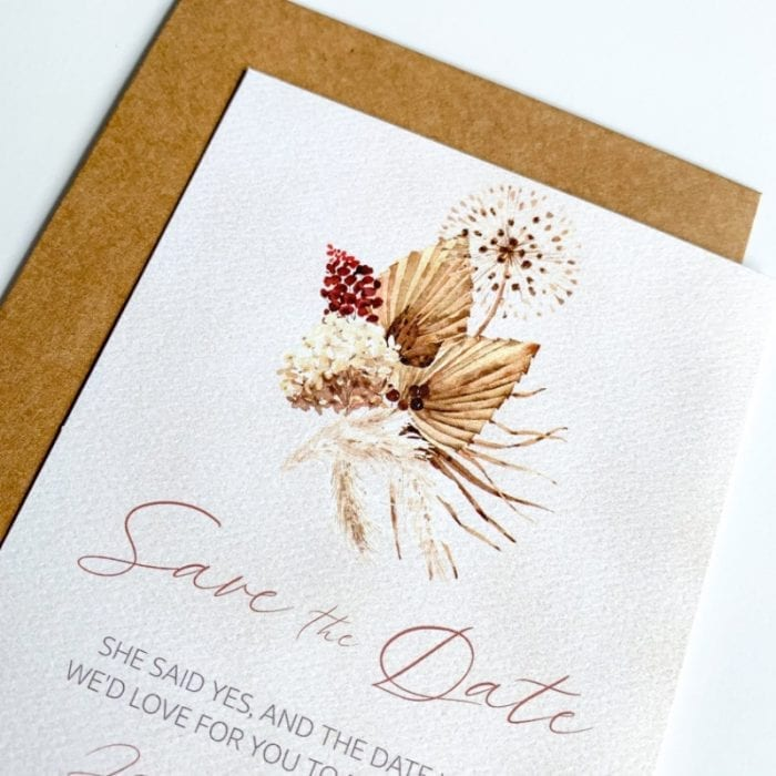 boho floral save the date card