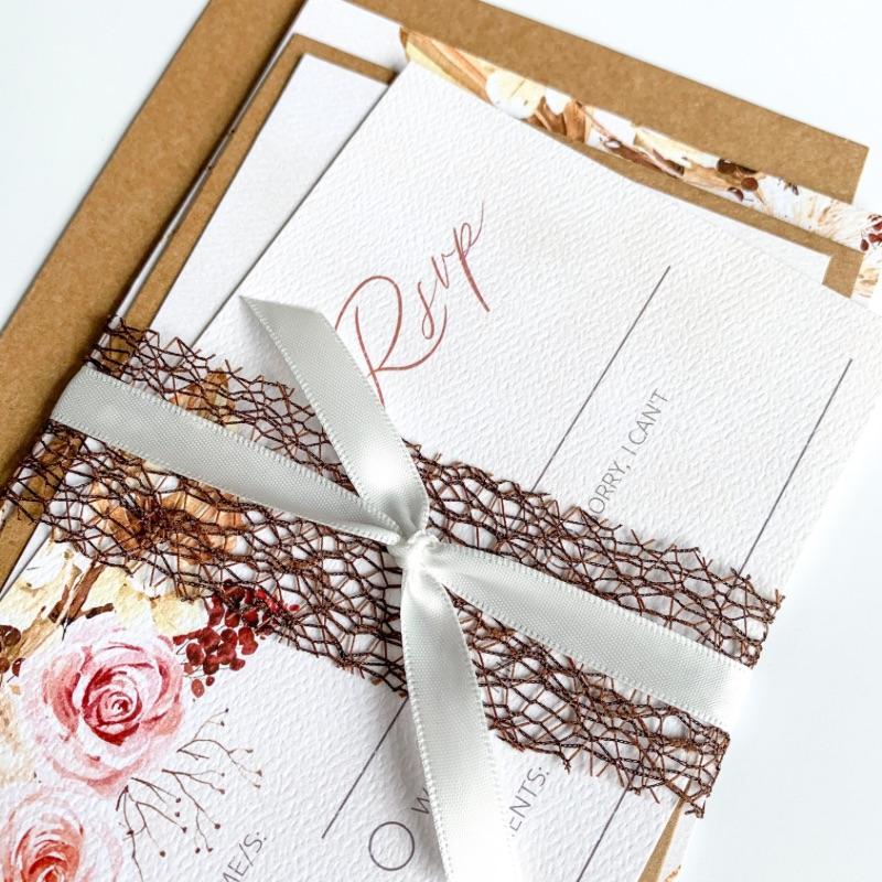 boho floral wedding invitation