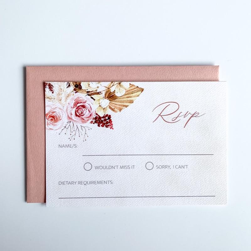 boho floral wedding rsvp card