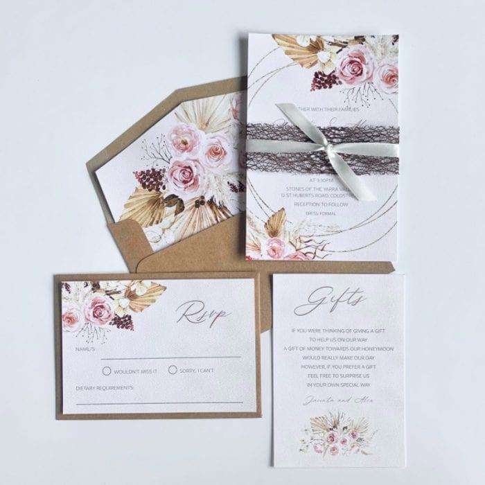 boho floral wedding invitation suite