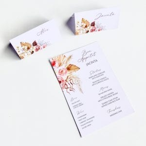 Boho floral place card and menu