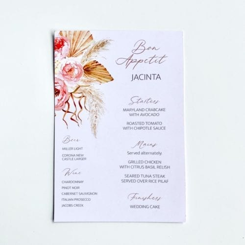 Boho floral menu